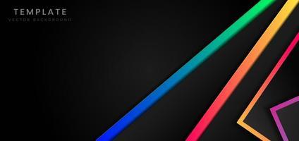 sfondo nero con forme geometriche e colori vivaci vettore