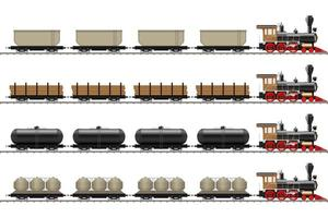 vecchia locomotiva e vagoni isolati vettore