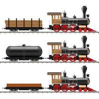 vecchia locomotiva a vapore e vagoni vettore