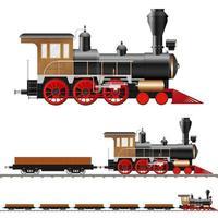 locomotiva a vapore e vagoni vettore