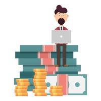 uomo d'affari con laptop in piedi su un enorme mucchio di soldi vettore
