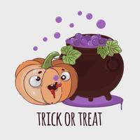 cartone animato di halloween zucca vettore