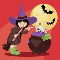 strega mistica di halloween vettore