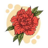 fiore rosso con foglie vettore