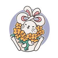 coniglio divertente con fiori vettore
