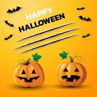banner di felice giorno di halloween con due zucche vettore