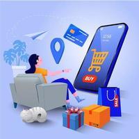 shopping online e concetto di marketing digitale vettore