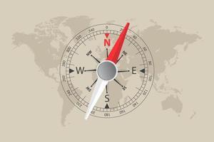 mappa del mondo e bussola magnetica vettore