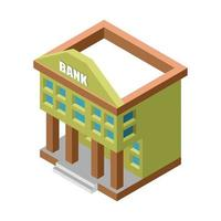 edificio banca isometrica verde isolato vettore