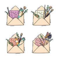 set di lettere con materiali artistici e fiori vettore