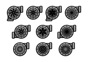 Icone di vettore del turbocompressore
