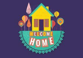 Casa di benvenuto retro cucita vettore