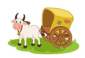 mucca con carro trainato da buoi