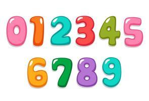 numeri spumeggianti nei colori della caramella vettore