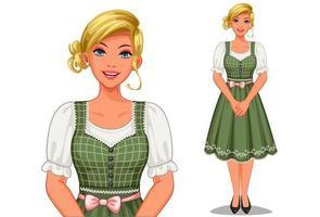 donna in abiti tradizionali tedeschi vettore