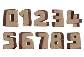 numeri di font in stile pietra vettore