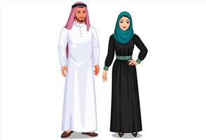 felice coppia mediorientale in piedi vettore