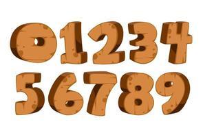 numeri in grassetto con texture di legno vettore