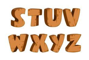 carattere in grassetto con struttura in legno, parte 3 vettore