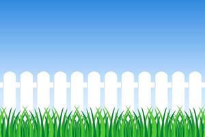 sfondo di erba verde e recinzione vettore