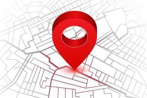 perno rosso che mostra la posizione sulla mappa del navigatore gps vettore