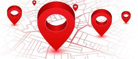 mappa del navigatore gps con posizioni dei perni rossi vettore
