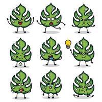 personaggi foglia monstera con varie espressioni vettore