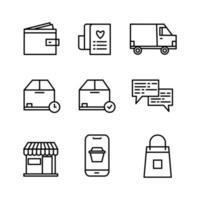 set di icone sottili di linea di e-commerce impostato su sfondo bianco vettore