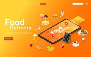 isometrico ordinare cibo online sulla pagina di destinazione mobile vettore