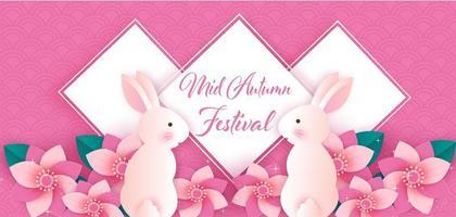 banner festival di metà autunno di arte di carta con conigli in fiori vettore