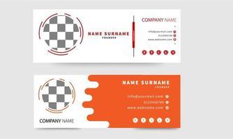 set di firme e-mail rosso e arancione su bianco