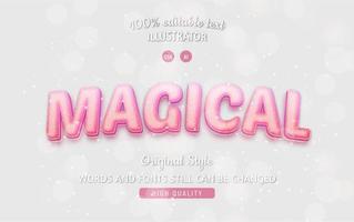testo modificabile rosa magico con stile sfumato vettore