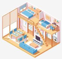 composizione isometrica interna della casa a due piani vettore