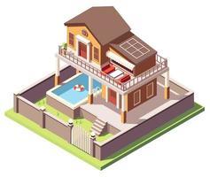 casa isometrica con piscina vettore