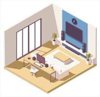 composizione isometrica del soggiorno vettore