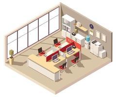 composizione isometrica del cubicolo dell'ufficio vettore