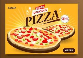 poster per pizza super deliziosa vettore