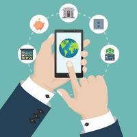 concetto di mobile banking con icone finanziarie isolate