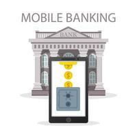 concetto di mobile banking con monete e cassetta di sicurezza