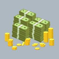 raccolta di monete e banconote in dollari, valuta dei soldi, soldi dei cartoni animati vettore