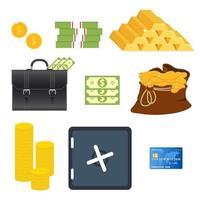 elementi di denaro impostati isolati vettore