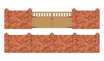 recinzione in mattoni con cancello in legno isolato vettore