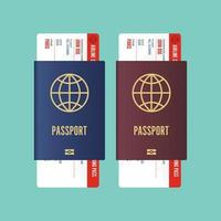 passaporto con carta d'imbarco all'interno isolato su verde