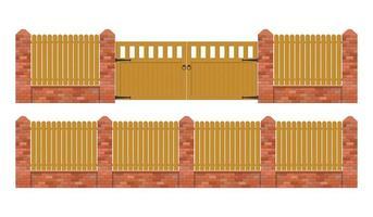 staccionata in mattoni rustici con cancello in legno vettore
