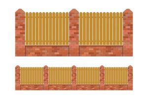 mattoni e recinzione in legno isolato vettore