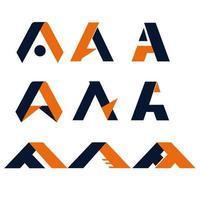 arancione, blu marino lettera un logo impostato vettore
