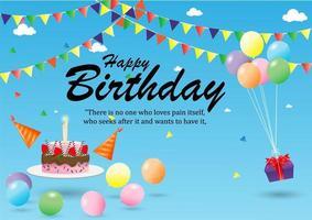 poster di buon compleanno con torta, regalo e decorazioni