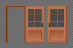 porta di legno aperta e chiusa vettore