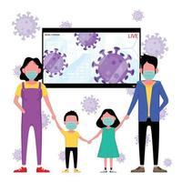 famiglia mascherata davanti alla schermata delle notizie sui virus