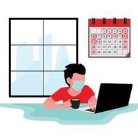 uomo mascherato sul laptop stare a casa durante la quarantena